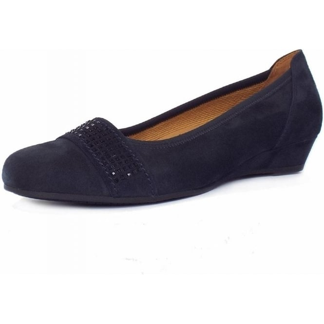 Gabor Aylesford Dressy Smart Casual Wide Fit Pumps in Night Blue Suede