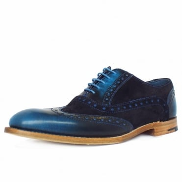 Grant Men's Smart Wingtip Brogue Shoes in Blue Shine Combi Leather