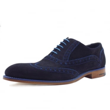 Grant Men's Smart Wingtip Brogue Shoes in Blue Suede