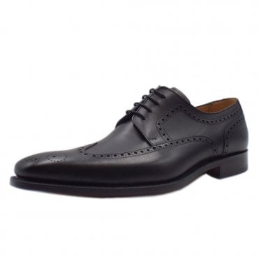 Larry Men's Smart Wingtip Brogue Shoes in Black