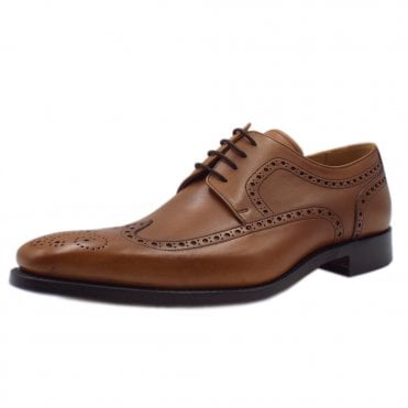 Larry Men's Smart Wingtip Brogue Shoes in Cedar