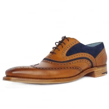 McClean Men's Smart Wingtip Brogue Shoes in Cedar/Blue