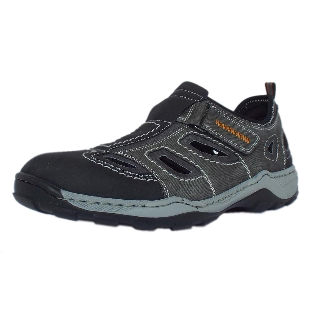 rieker sandals barton mens summer shoes in grey textile