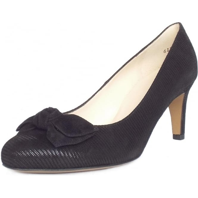 Peter Kaiser Baska Bow Trim Court Shoes In Black Lizard Suede