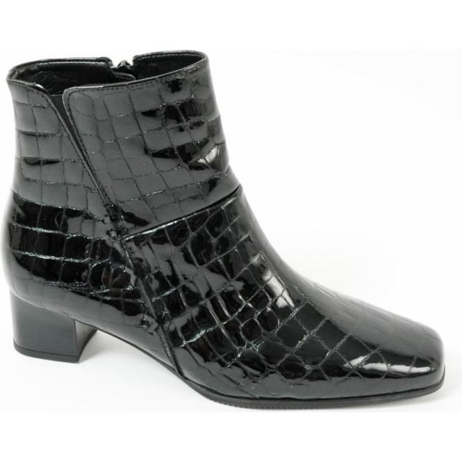 a9608c7a1 Gabor Boots | Bassanio Croc Finish Ankle Boot in Black | Mozimo