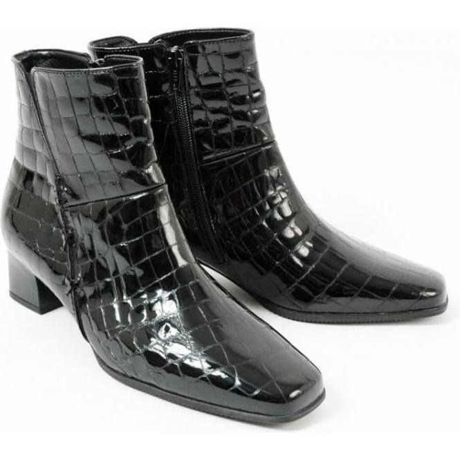 23de551f8ba Gabor Bassanio Crocodile Finish Patent Leather Ankle Boot In Black