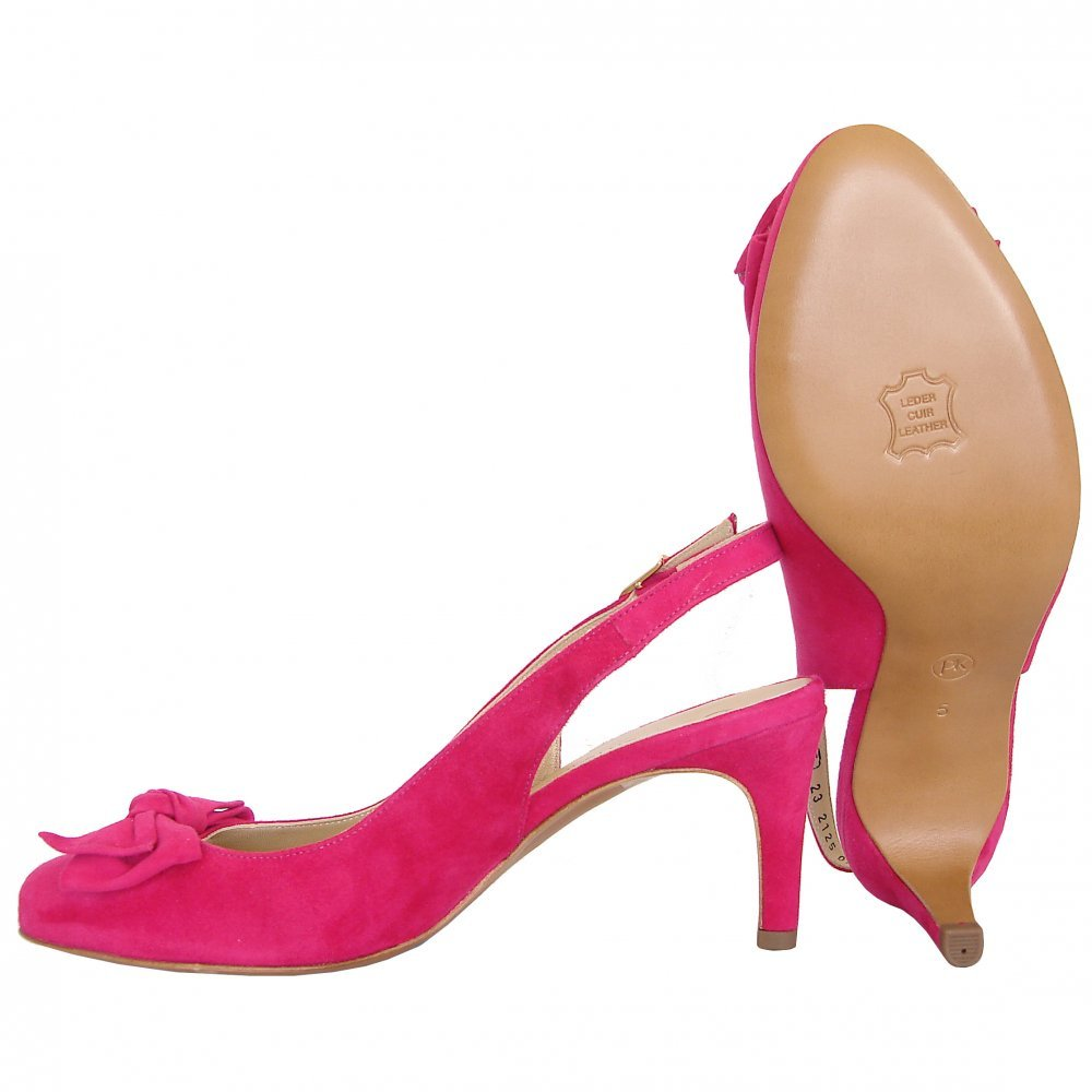 kaiser berny sling back mid heel shoes in pink