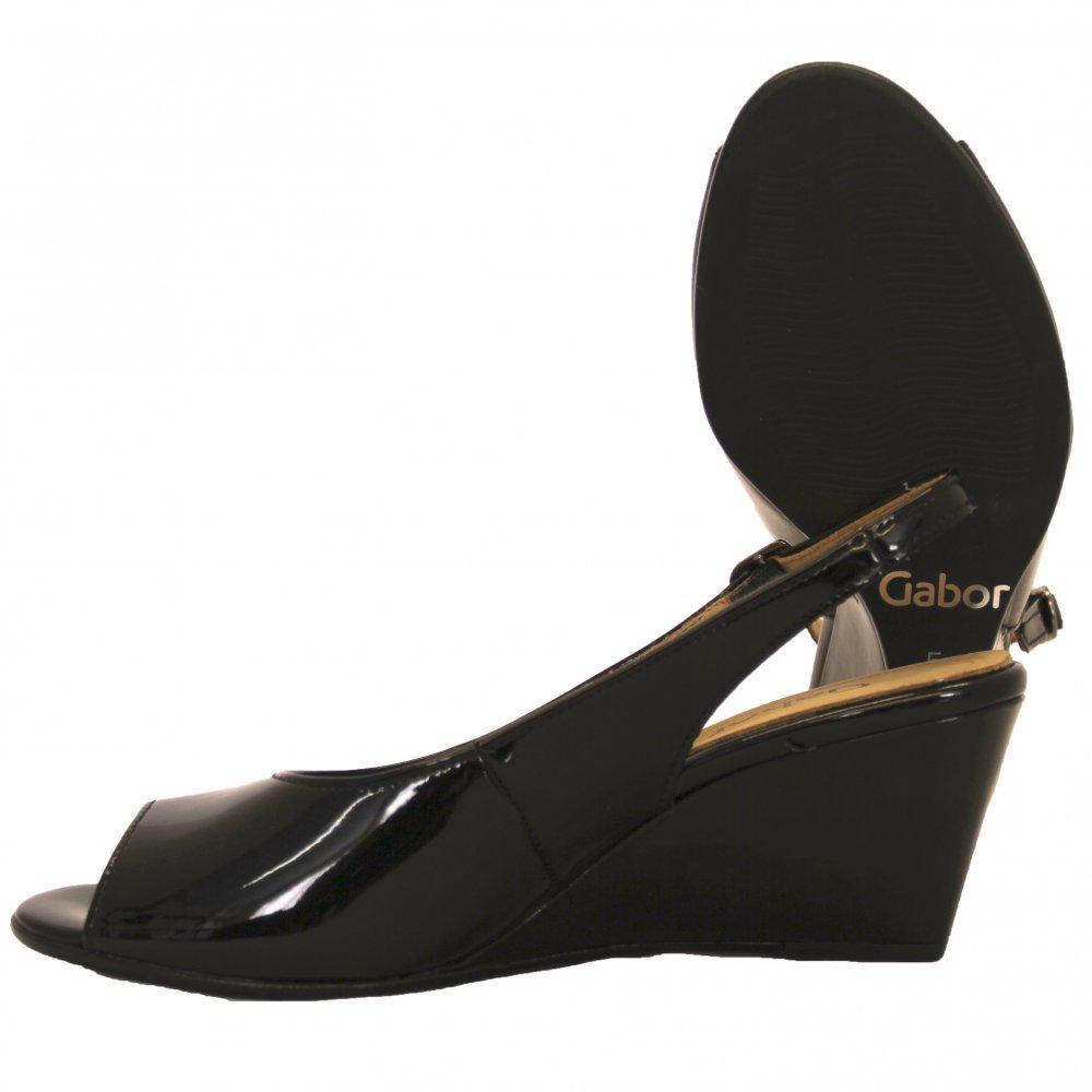 gabor shoes betti peep toe shoe in black patent