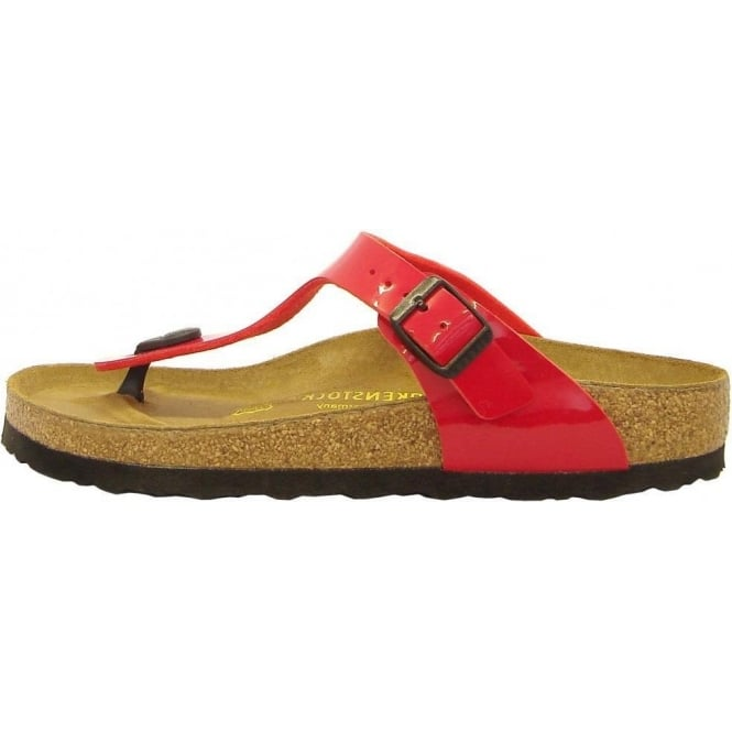 111697316 Birkenstock Gizeh | Comfortable thong sandals in red patent | Mozimo