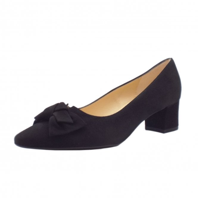 Peter Kaiser Blia Wide Fit Court Shoes in Black Suede