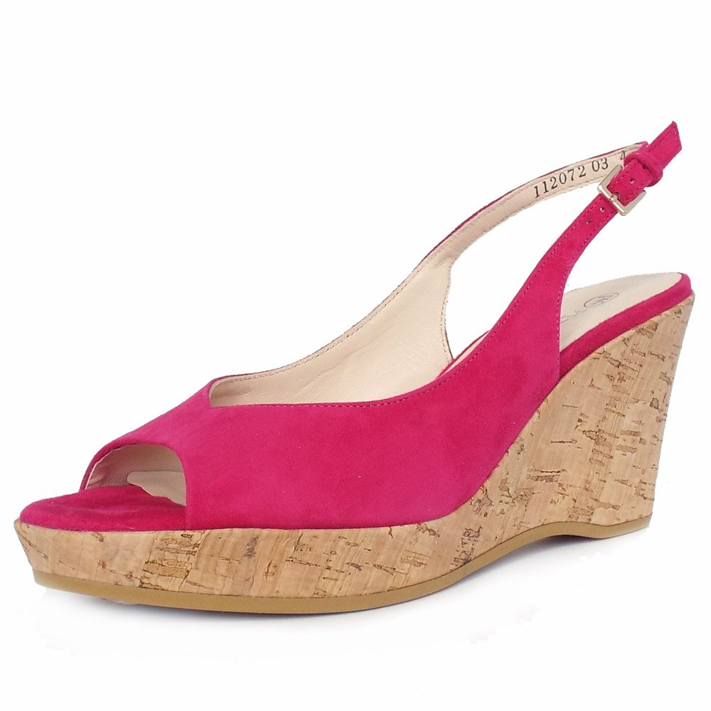 kaiser bobby fuchsia pink suede wedge shoes
