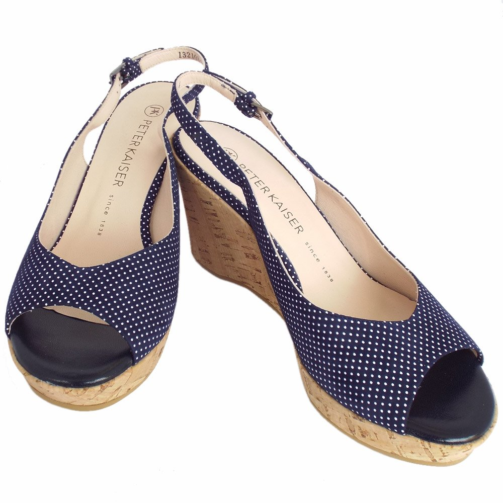 kaiser bobby polka dot navy suede wedge