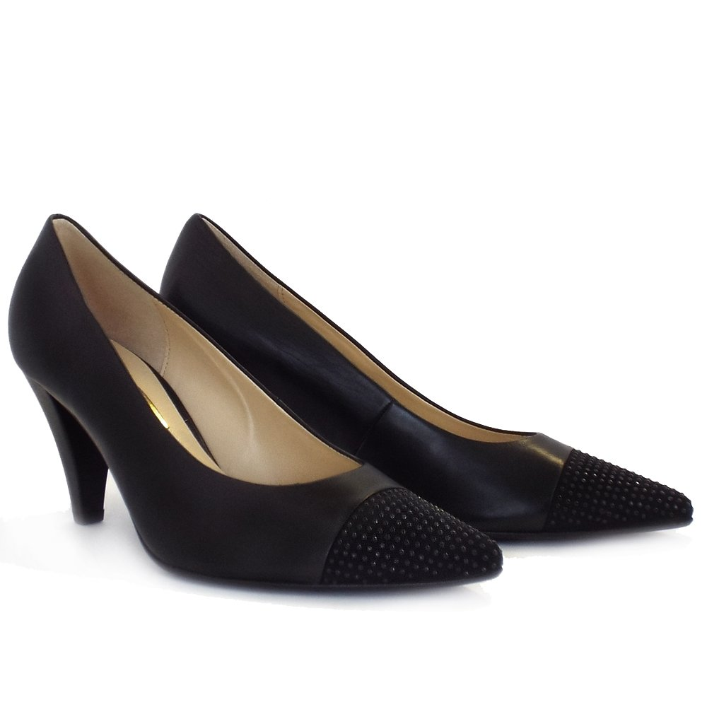 gabor brax dressy mid heel black court shoes with