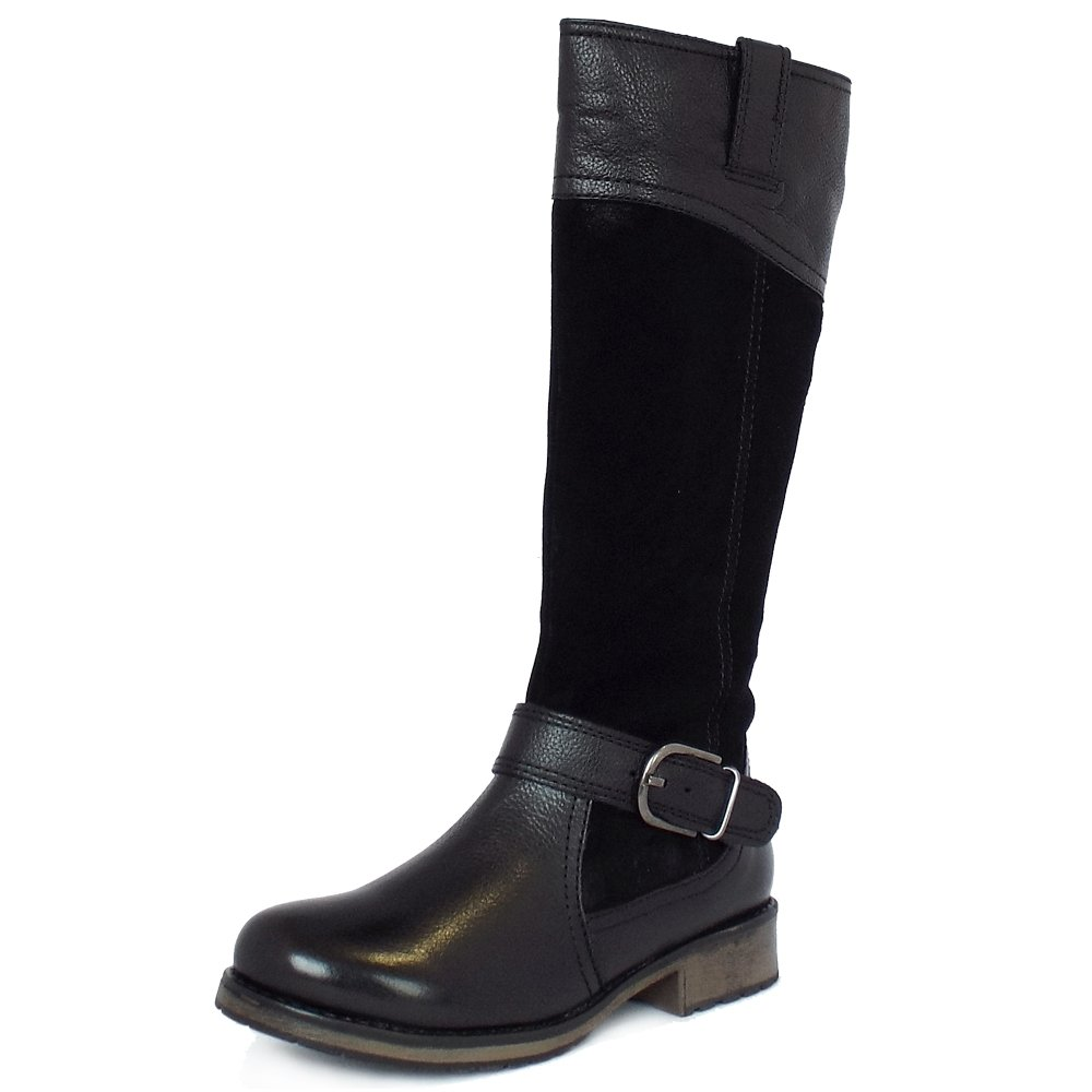 lotus smart casual knee high boots in black