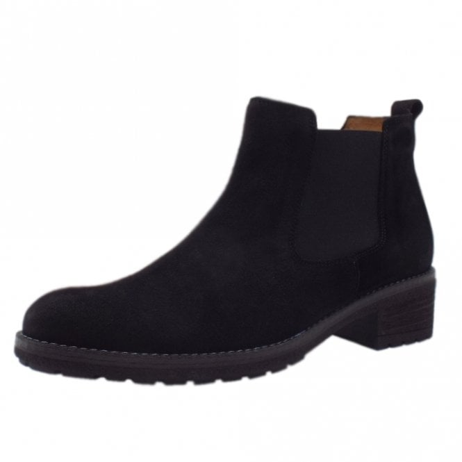 Gabor Brilliant Chelsea Ankle Boots in Black Suede