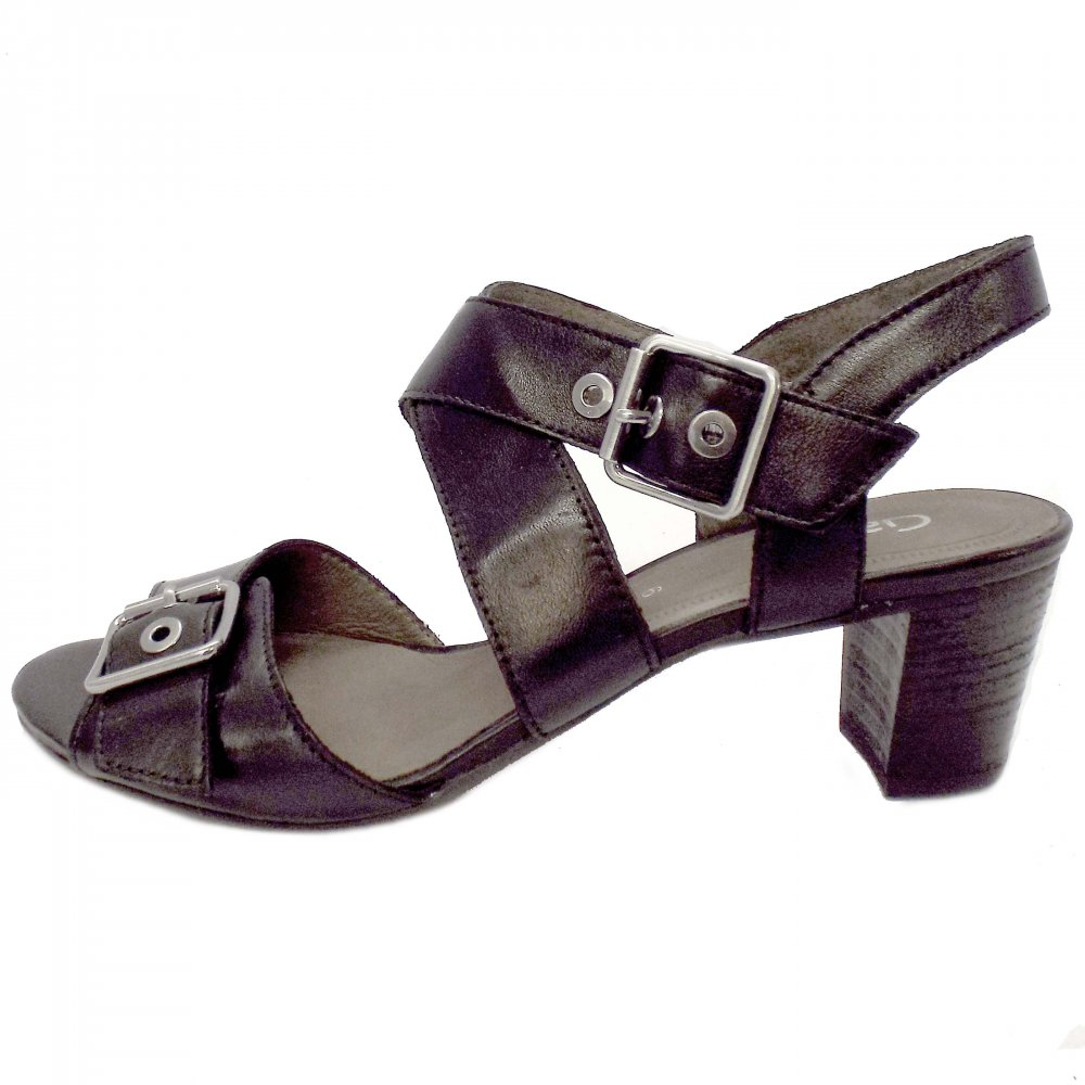 Gabor Shoes Britney Ladies Black Leather Summer Sandals