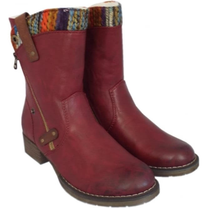 brand new 304b3 b788f Rieker Budapest Fleece Lined Boots in Vino with Multi-colour trim