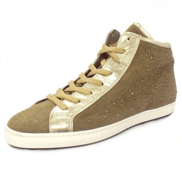 Antonella Gold and Diamante High Top Sneaker in Taupe