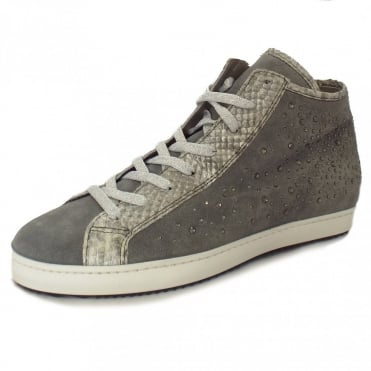 Antonella Snakeskin and Crystals High Top Sneakers in Grey