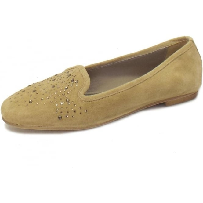 Cadoro Venezia Twinkle Ballet Pumps in Taupe Suede