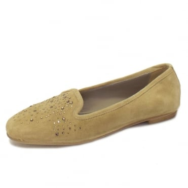 Twinkle Ballet Pumps in Taupe Suede