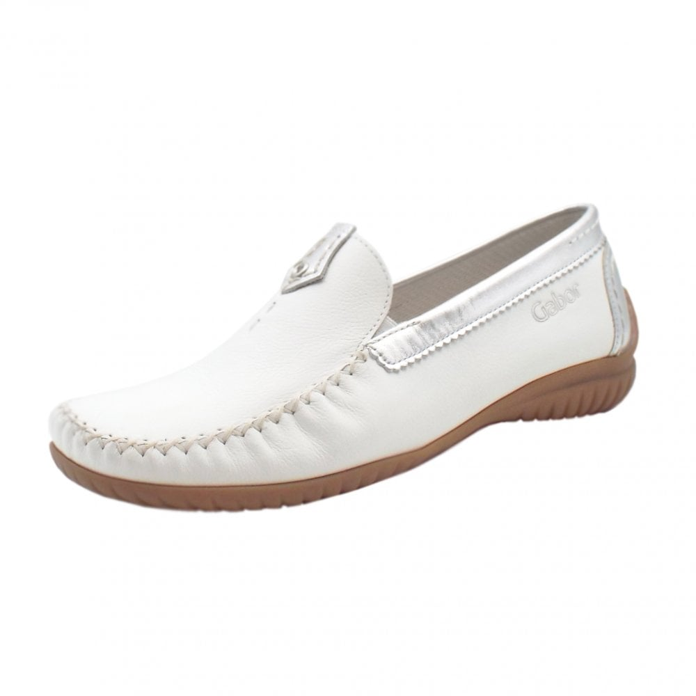 Gabor California Wide Fit Leather Casual Loafer In White