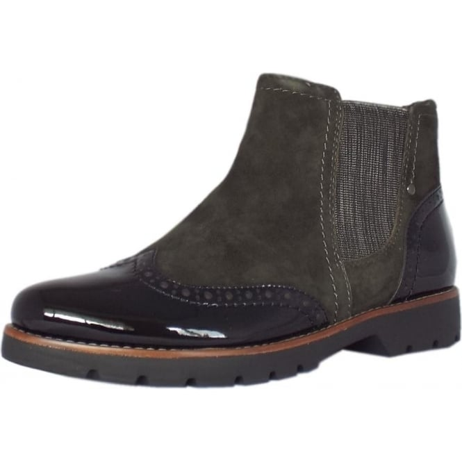 huge selection of 88dff 1f79e Jana Cambridge Brogue Style Wide Fit Ankle Boots in Graphite