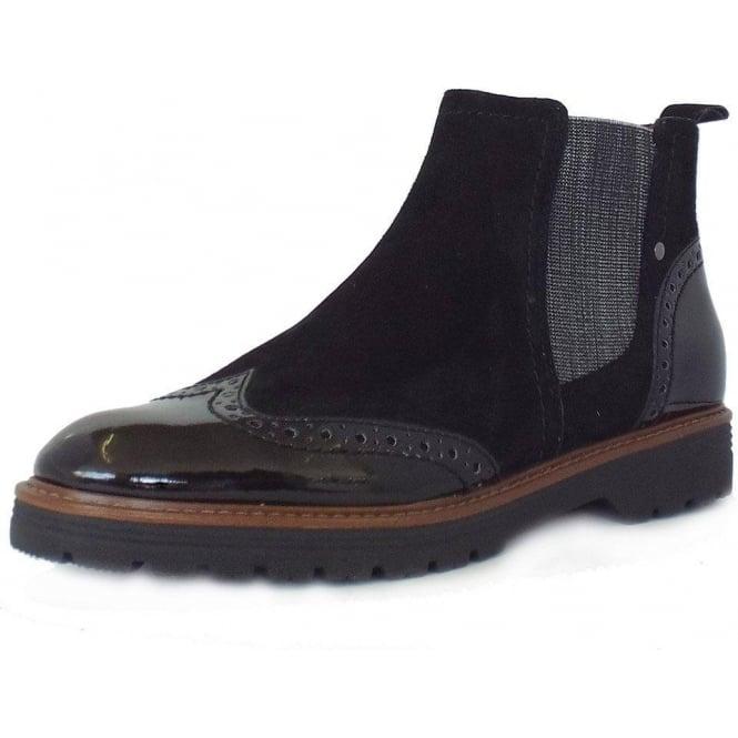 0ada678b95bbde Jana Cambridge | Women's Trendy Wide Fit Brogue Style Black Ankle Boot