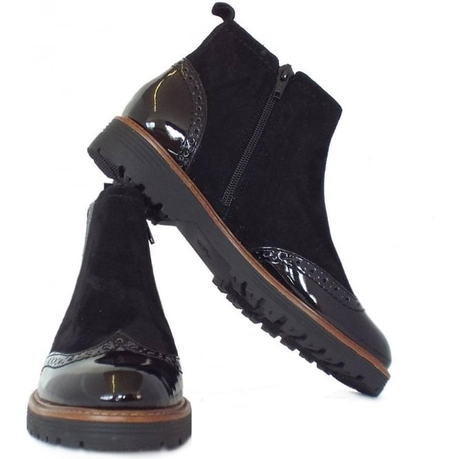 choose genuine comfortable feel hot-selling cheap Jana Cambridge Women's Brogue Style Wide Fit Ankle Boots in Black Mix