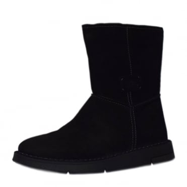 Estella Balance Mid Calf Boots in Black Suede