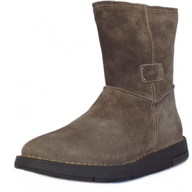 Camel Active Estella Balance Mid Calf Boots in Wolf Suede