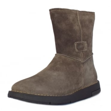 Estella Balance Mid Calf Boots in Wolf Suede