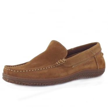 Camel Active Hamble St. Tropez Men's Casual Driving Shoes in Brandy Oiled Suede