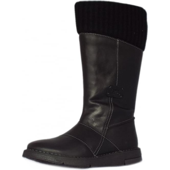 Stephanie Balance Calf Length Boots in Black Leather