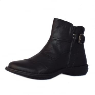 Camel Active Tiara Niagara Short Ankle Boots in Black Leather