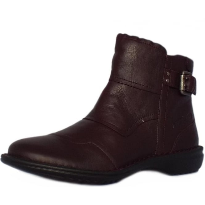 Camel Active Tiara Niagara Short Ankle Boots in Bordeaux Leather