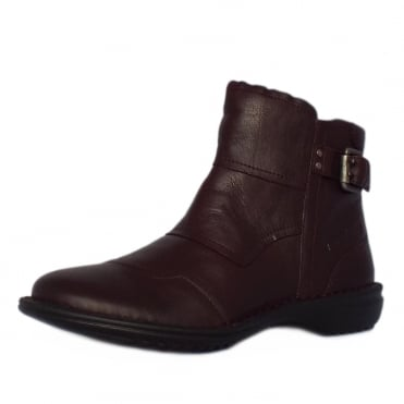 Tiara Niagara Short Ankle Boots in Bordeaux Leather
