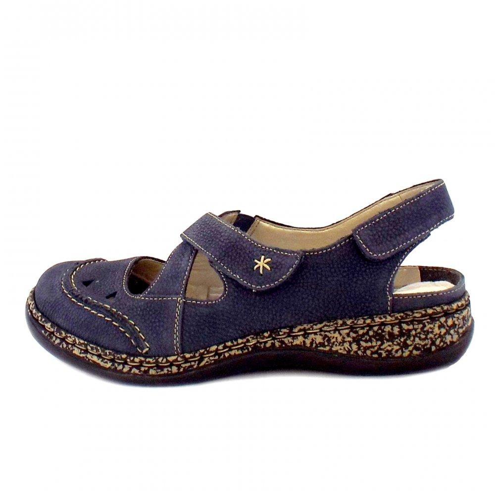 Rieker Shoes Capra Ladies Velcro Navy Comfortable Shoes