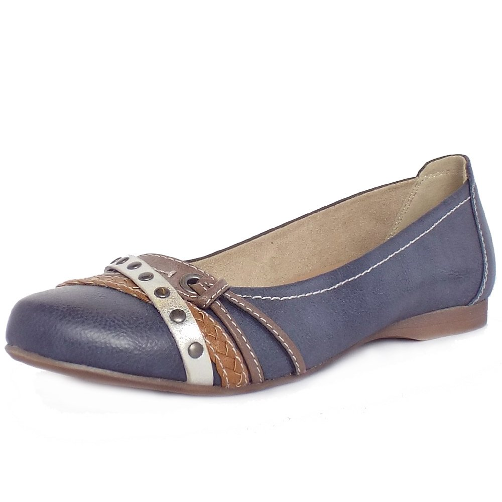 Womens wide navy shoes