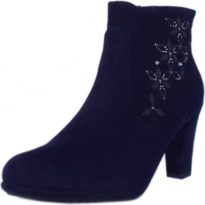 Peter Kaiser Cetin Ankle Boot in Navy Suede