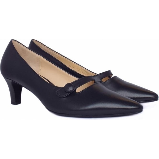 Gabor Court Shoes Charity | Women's Kitten Heel Navy Leather Shoes