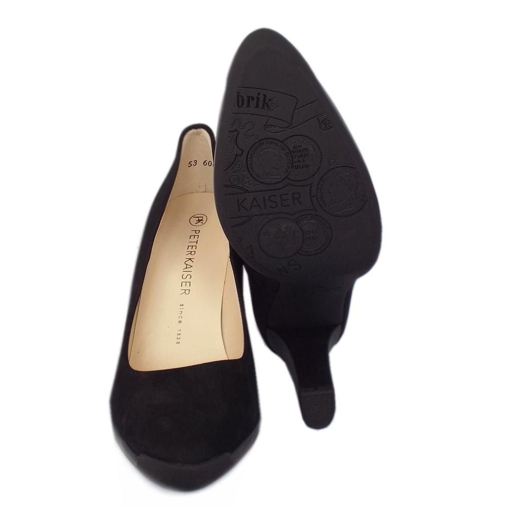 kaiser charlien s rubber heel black shoes