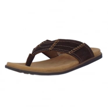 Admiral Men's Toe-post Sandal in Dark Brown