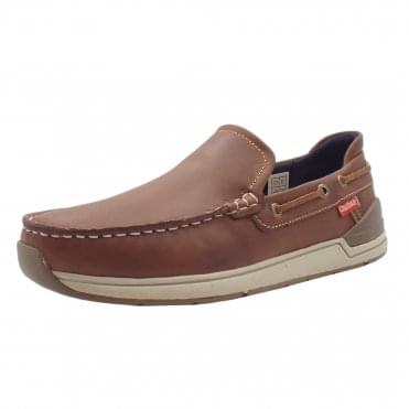 Archer Men's Leather Casual Slip On Deck Shoes in Tan