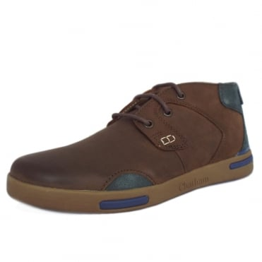 Chamber Mens Casual Lace-Up Trainer in Brown