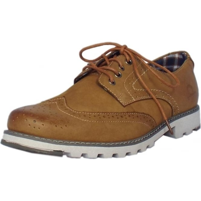 Chatham Marine Chase Men's Lace-up Brogue Shoes in Tan Leather