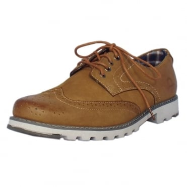 Chase Men's Lace-up Brogue Shoes in Tan Leather