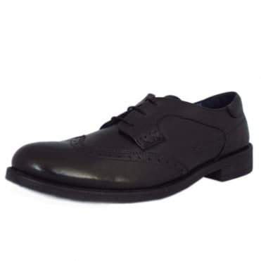 Cheltenham Mens Smart-Casual Lace-Up Shoe in Black Leather