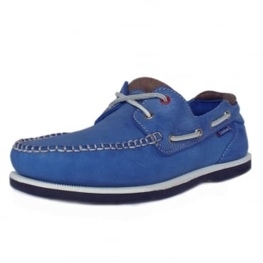 Churchill Made In Britain Men's Lace Up Leather Deck Shoe in Blue