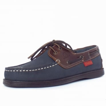 Commodore Men's Boat Shoes in Navy/Brown